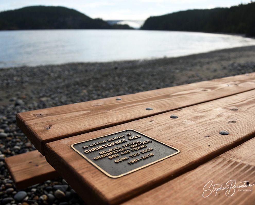 Memorial plaque, park picnic table